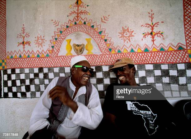 A portrait of two friends in a cafe April 2000 in Ghadames Libya