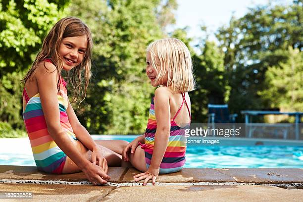 Portrait of two girls at poolside