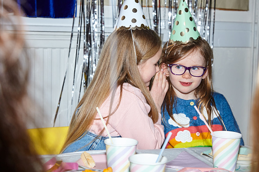 Portrait of two girls having fun at a party - gettyimageskorea