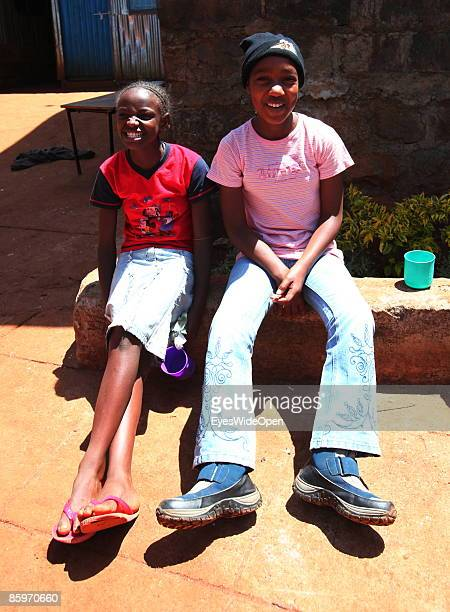 Portrait of two girls in the Cargo Human Care Social project by Lufthansa Airline in Cooperation with different sponsors on March 20 2009 in Nairobi...