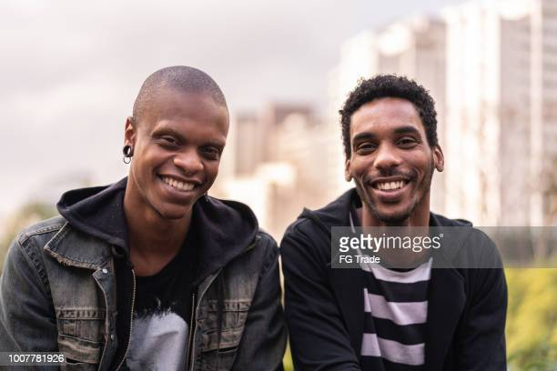 Portrait of two handsome latino african man