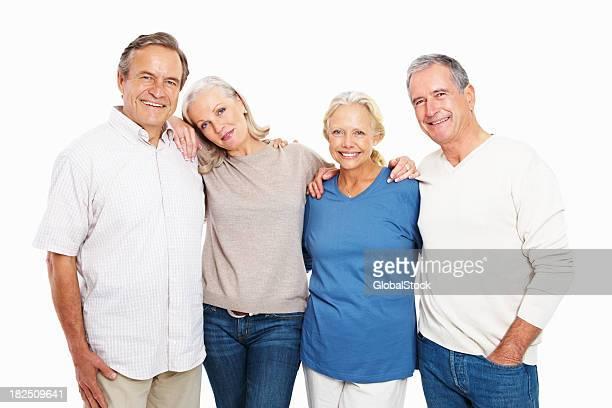 Porträt von zwei glücklichen senior Paare auf Weiß