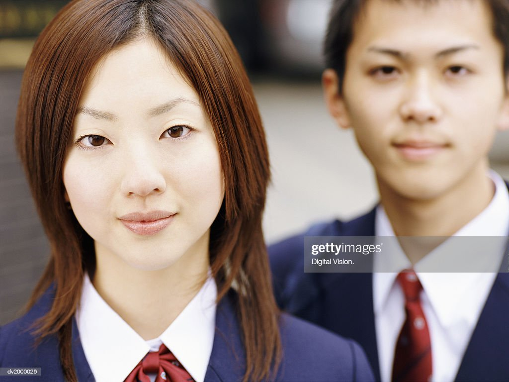Portrait of Two High School Students : Stock Photo