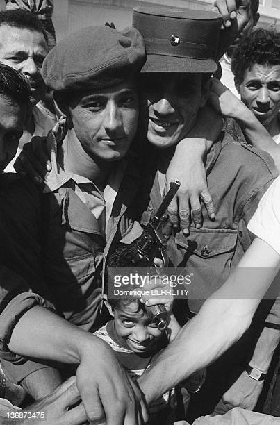 Portrait of two members of National Liberation Army in a street of Algiers two months after the Independence on September 5 1962 in Algiers Algeria