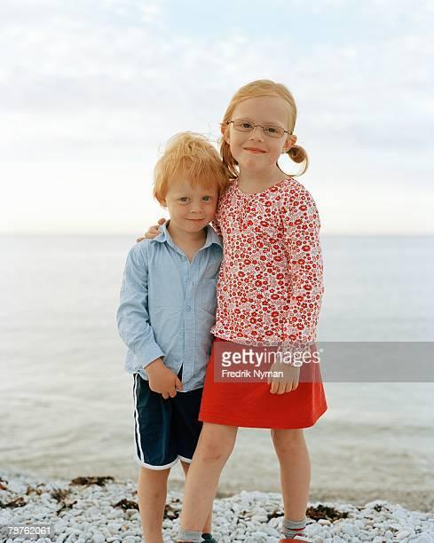 Portrait of two siblings Gotland Sweden.