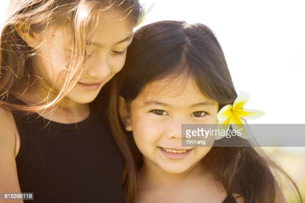 Portrait of Two Sister Young girl Hawaiian Polynesian Children