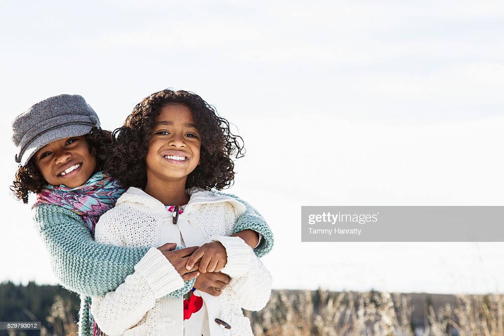 Portrait of two sisters (8-9,10-12) : Stock Photo