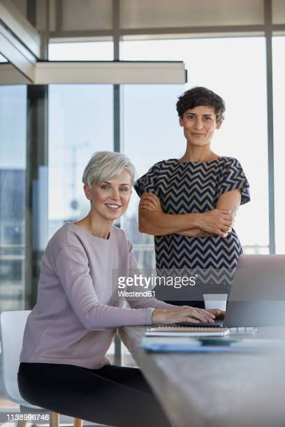 portrait of two smiling businesswomen with laptop at desk in office - german short haired pointer stock pictures, royalty-free photos & images