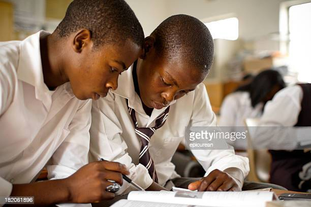 Portrait of two South African boys studying in rural classroom