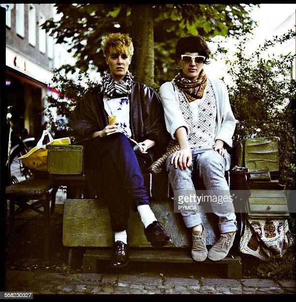 Portrait of two stylish friends in Prenzlauer Berg Berlin 2009