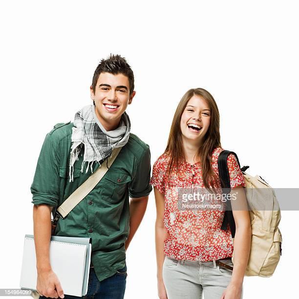 Porträt von zwei Teenager Studenten-isoliert