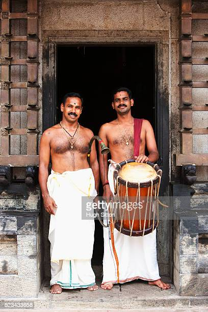 portrait of two temple musicians, kerala, southern india - hugh sitton stock pictures, royalty-free photos & images
