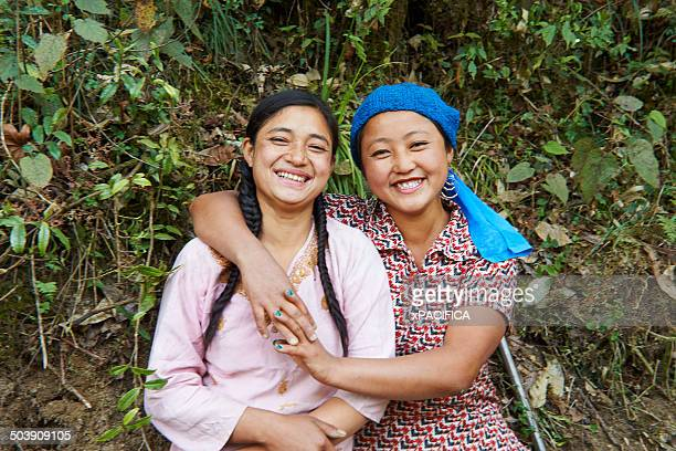 Portrait of two Tibetan female Labor workers