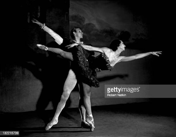 Portrait of two unidentified members of the Ballet Russe with the male dancer supporting the female dancer as she performs an arabesque Chicago 1949
