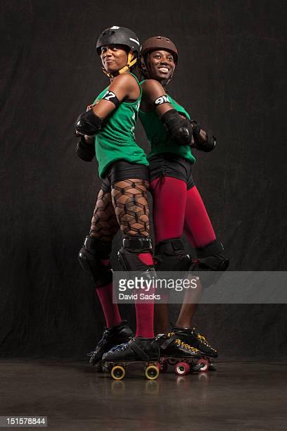 Portrait of two women in skates