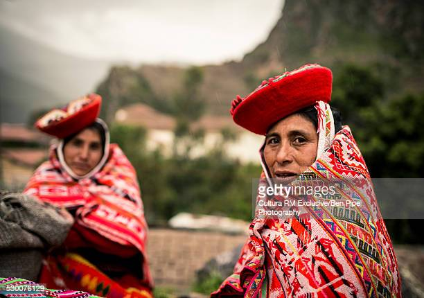 Portrait of two women in traditional dress,Ollantaytambo, Sacred Valley, Peru