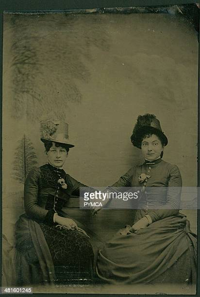 Portrait of two women in victorian clothing circa 1890s