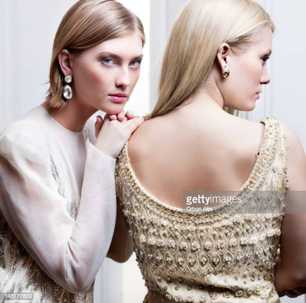 portrait of two women - high fashion stock pictures, royalty-free photos & images