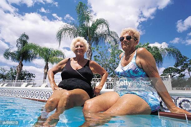 Portrait of Two Women Sitting in a Pool