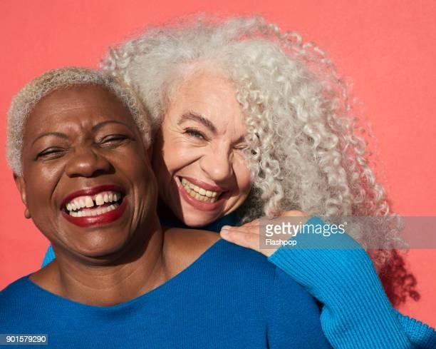 Portrait of two women smiling