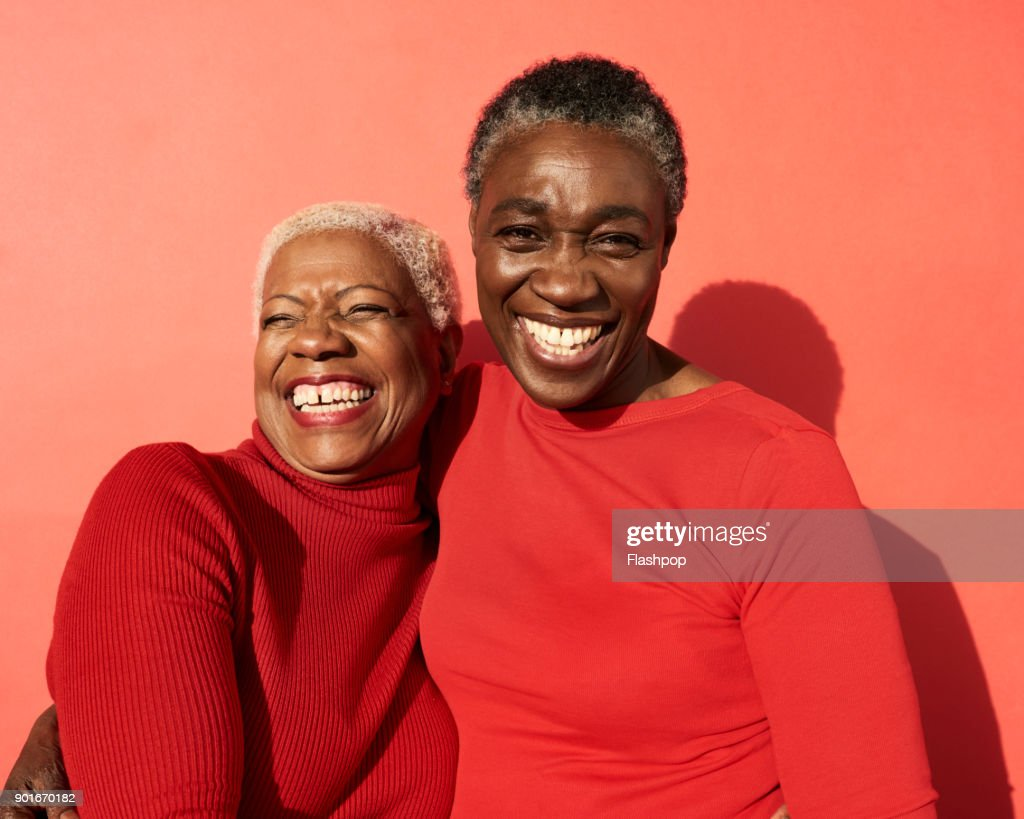 Portrait of two women smiling : Stock Photo