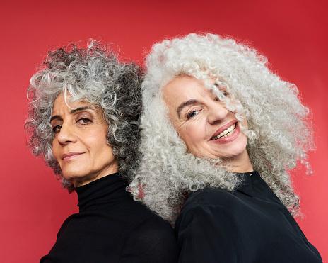 Portrait of two women smiling - gettyimageskorea