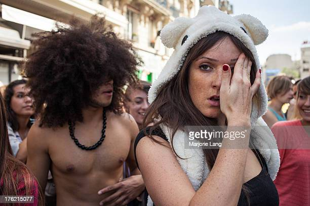 Portrait of two young fashion people dancing at the Techno Parade on september 15th 2012 in the streets of Paris, France. The techno parade is an...
