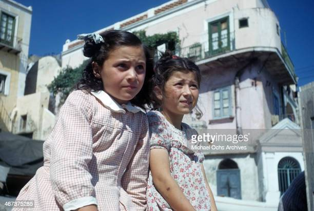 A portrait of two young girls in Capri Italy
