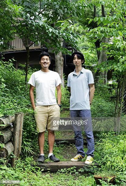 portrait of two young men - só homens jovens imagens e fotografias de stock