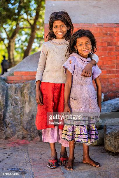 Portrait of two young Nepali girls in Bhaktapur, Nepal