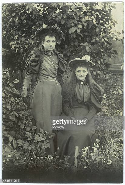 Portrait of two young women in victorian clothing circa 1890s