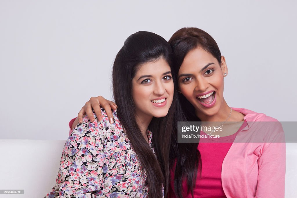 Portrait of two young women : Stock Photo