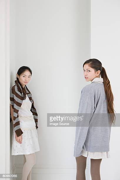 portrait of two young women - mongolian women stock photos and pictures
