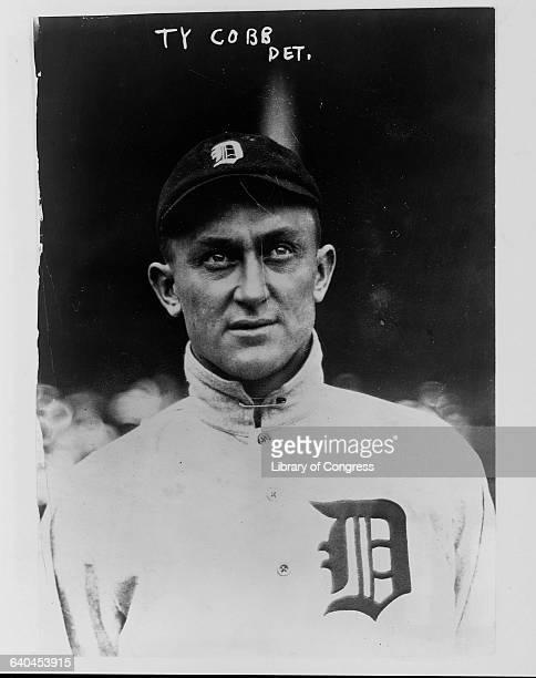Portrait of Ty Cobb in his baseball uniform.