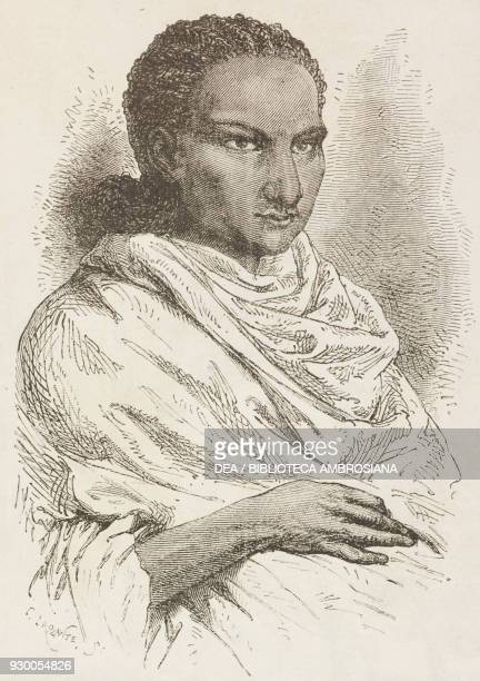 Portrait of Ubie chief of the territories of Samen and Tigray Ethiopia drawing by Alphonse de Neuville from a report by Theophile Lefebvre from The...