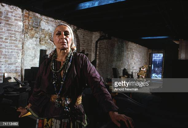 Portrait of Ukrainianborn American sculptor Louise Nevelson in her Soho studio New York New York July 20 1973