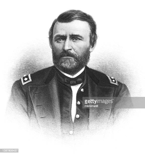 portrait of ulysses s. grant, 18th president of the united states from 1869 to 1877. - ulysses s grant stock pictures, royalty-free photos & images