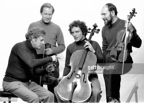 Portrait of unidentified members of the Juilliard String Quartet, March 1982.