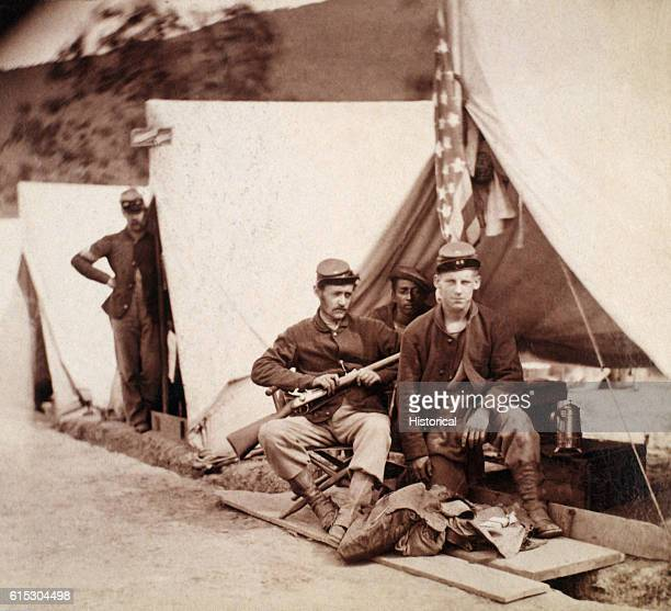 Portrait of Union soldiers in camp at Harper's Ferry during 1862