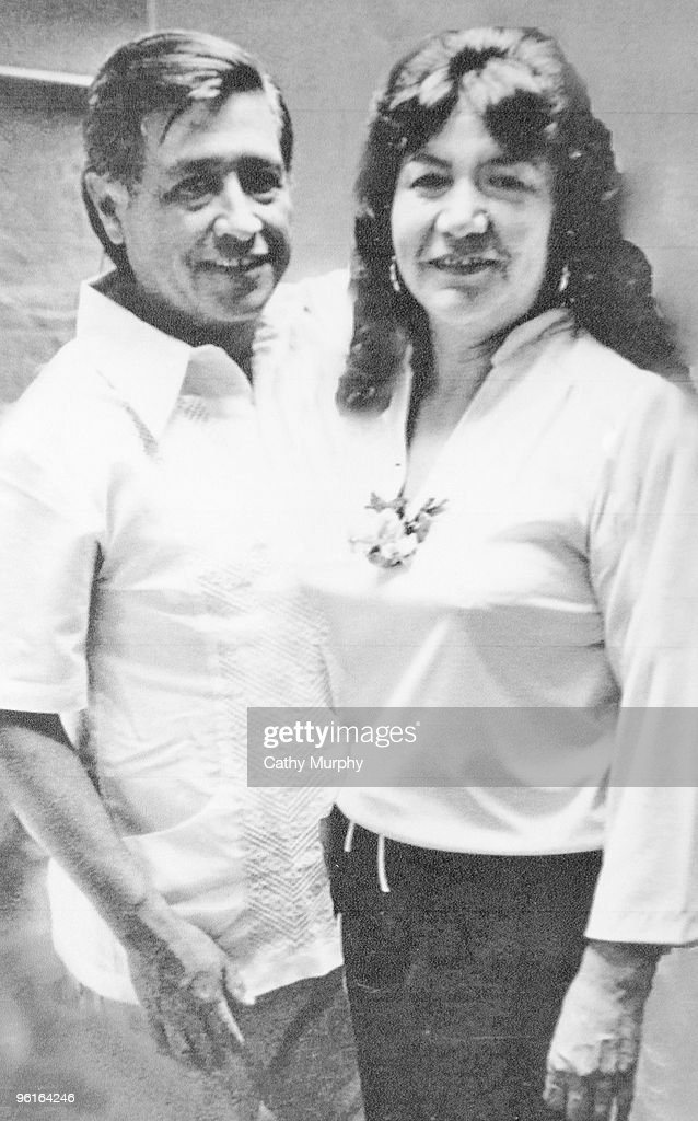 Portrait of United Farm Workers co-founder Cesar Chavez and his wife ...