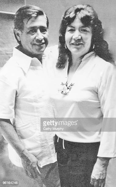 Portrait of United Farm Workers cofounder Cesar Chavez and his wife Helen California ca1970s