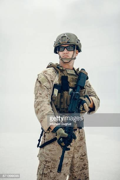 Portrait of United States Marine on patrol.