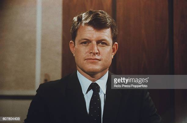 Portrait of United States Senator from Massachusetts Ted Kennedy wearing a suit and tie in an office in 1968