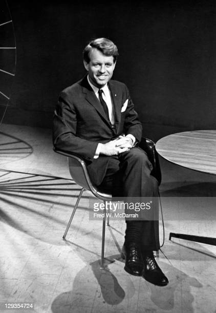 Portrait of United States Senator Robert F Kennedy as he sits in a chair New York New York February 12 1966