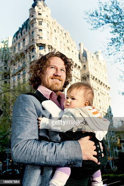 Portrait of urban father and baby