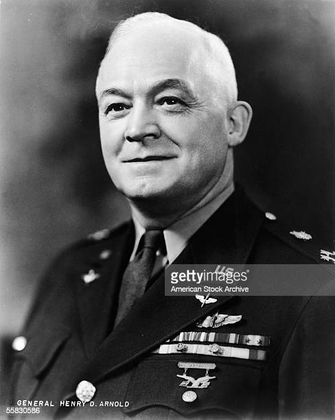 Portrait of US Air Force General Henry H. Arnold smiling and wearing his uniform, 1940s. Known affectionately as Hap , Arnold was an Army pilot and...