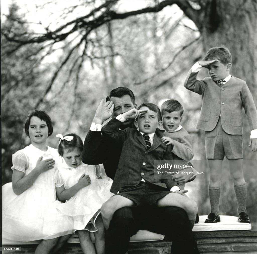 Portrait of US Attorney General Robert F Kennedy (1925 - 1968) (third left) as he poses with his children, McLean, Virginia, March 1961. Pictured are, from left, Kathleen (later Kathleen Kennedy Townsend), Courtney (later Courtney Kennedy Hill), RFK, Joseph II, David (1955 - 1984), and Michael (1958 - 1997). The photo was taken during a portrait session for the family Christmas card.