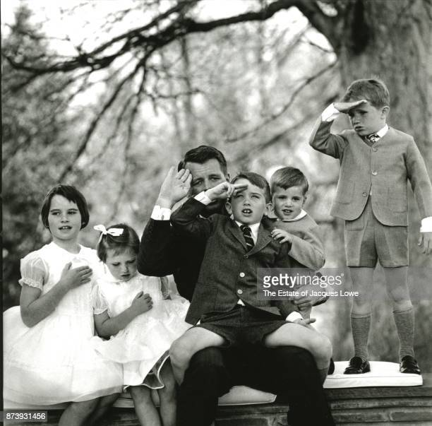 Portrait of US Attorney General Robert F Kennedy as he poses with his children McLean Virginia March 1961 Pictured are from left Kathleen Kerry RFK...