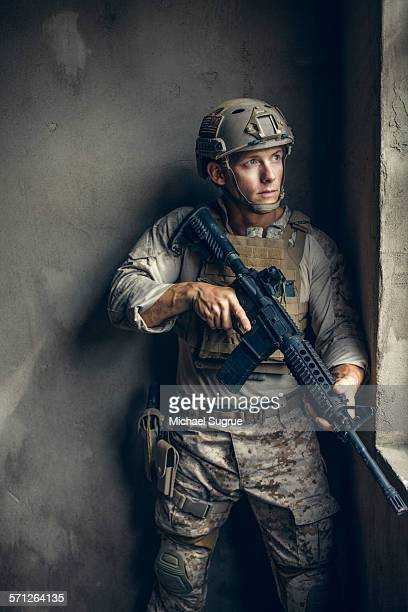 Portrait of US Marine on patrol.