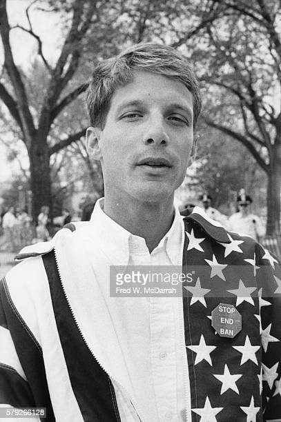 Portrait of US Navy petty officer Keith Meinhold as he poses outdoors during the March on Washington for Gay Lesbian and Bi Equal Rights and...